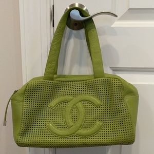 Chanel green leather purse
